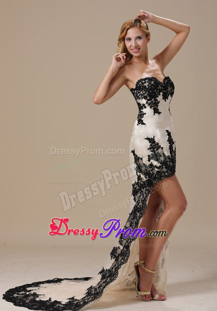 white and black highlow prom evening dress with appliques