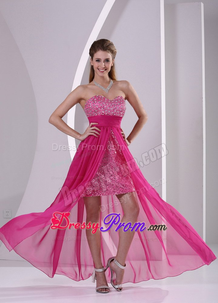 Hot Pink High-low Sweetheart Prom Gown Dress with Beading 2014
