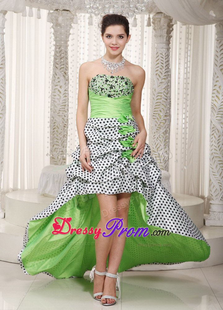 Dot High-low Multi-Color Pick Ups Senior Prom Dresses