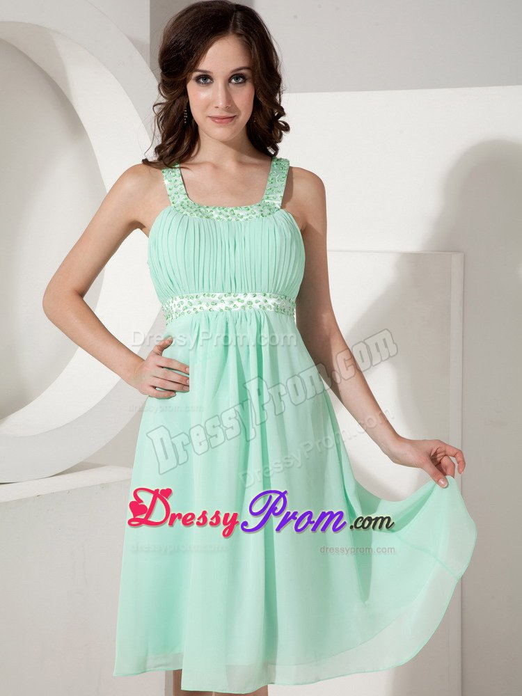 Straps Beading Knee Length Apple Green Chiffon Prom Party Dresses