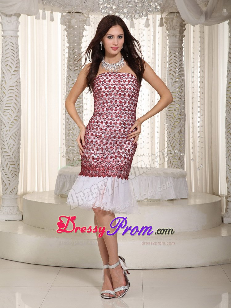 Wholesale White and Red Lace Prom Evening Dress Knee-length
