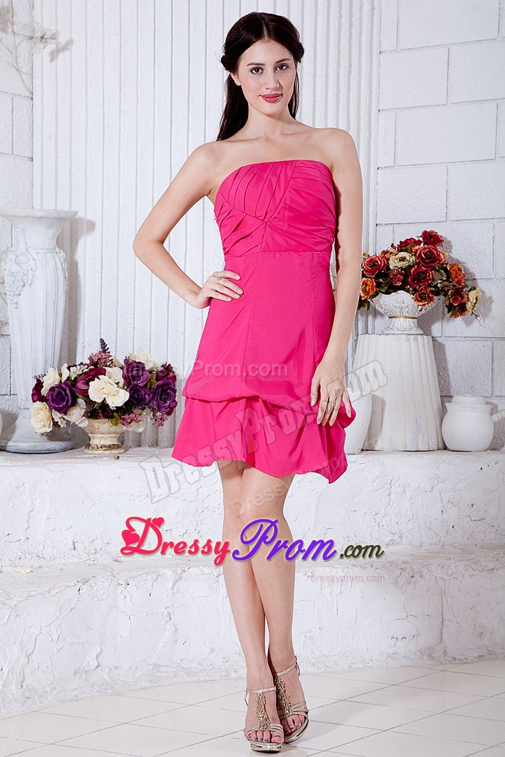 Ruched Strapless Pick Ups Short Hot Pink Prom Cocktail Dress
