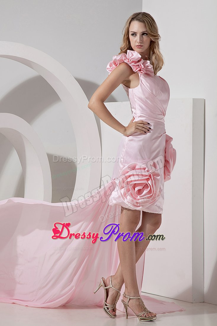 Sassy one Shoulder High-low Flowers Baby Pink Prom Dresses