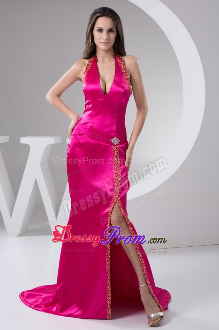 Slitted Brush Train Beaded Hot Pink Prom Dress Wholesale