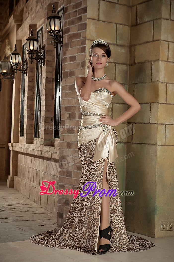 Champagne Sweetheart Leopard Print Slitted Prom Dress for Girls