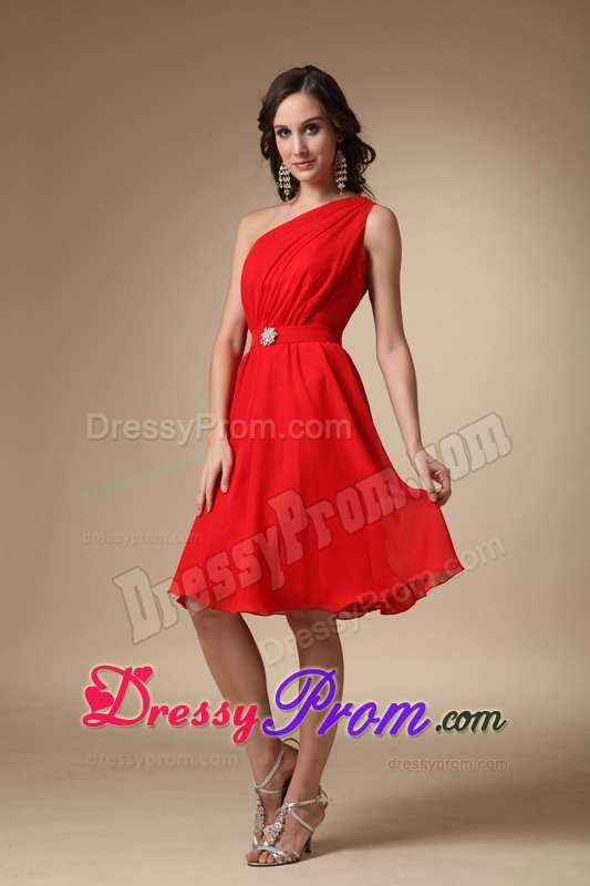 Shoulder Knee-length Red A-line Prom Dress with Beading
