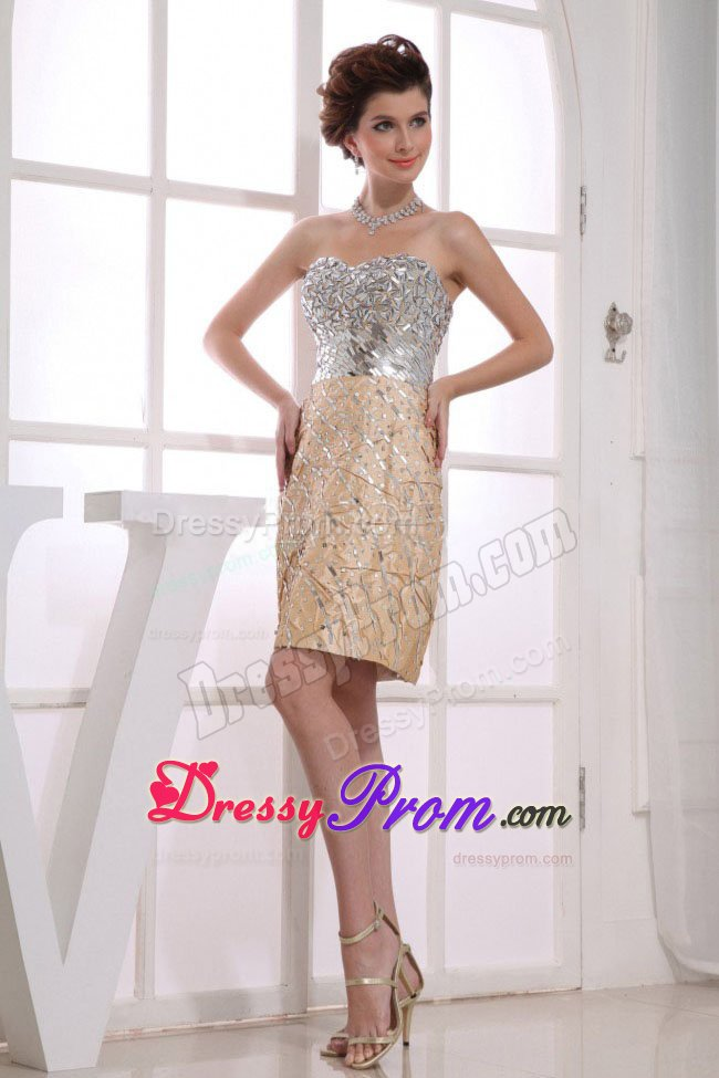 Sweetheart Prom Dress in Gold and Silver to Knee-length
