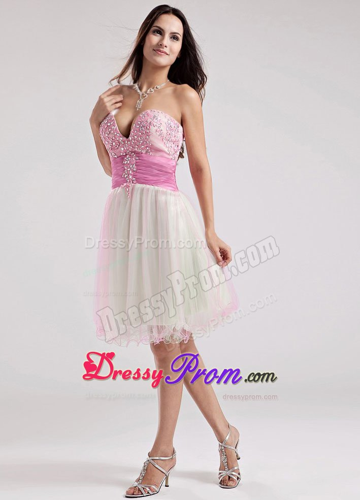 Beading Sweetheart A-Line Organza Knee-length Prom Dress in Multi-color