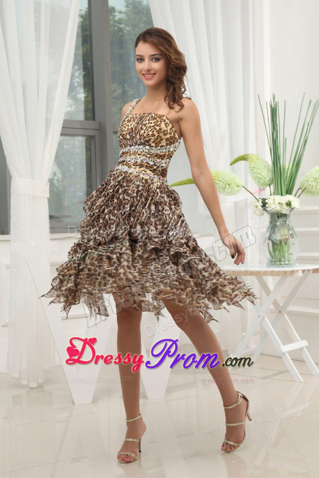 One Shoulder Leopard Prom Evening Dress Ruffled Layers