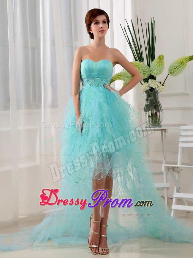 Organza High-low Sweetheart Beaded Prom Dress in Blue