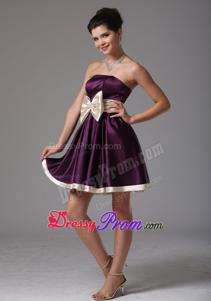 Ruffled Dark Purple Mini Prom Dress with Big Bowknot