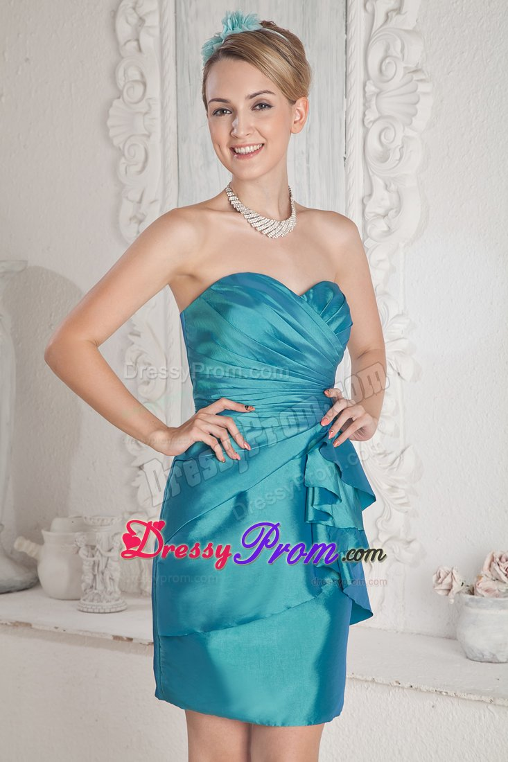 Hot Sweetheart Ruched Column Turquoise Prom Nightclub Dress