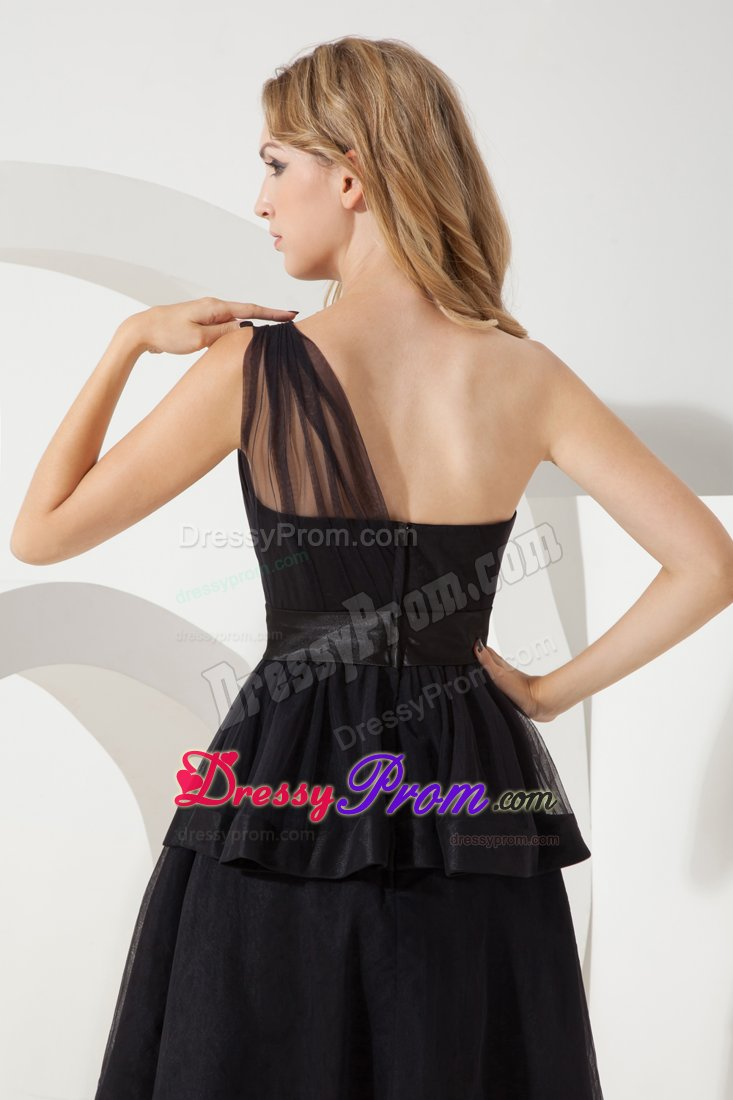 ... Shoulder Sashes Black A-line Tulle Little Black Prom Dress in Ghana