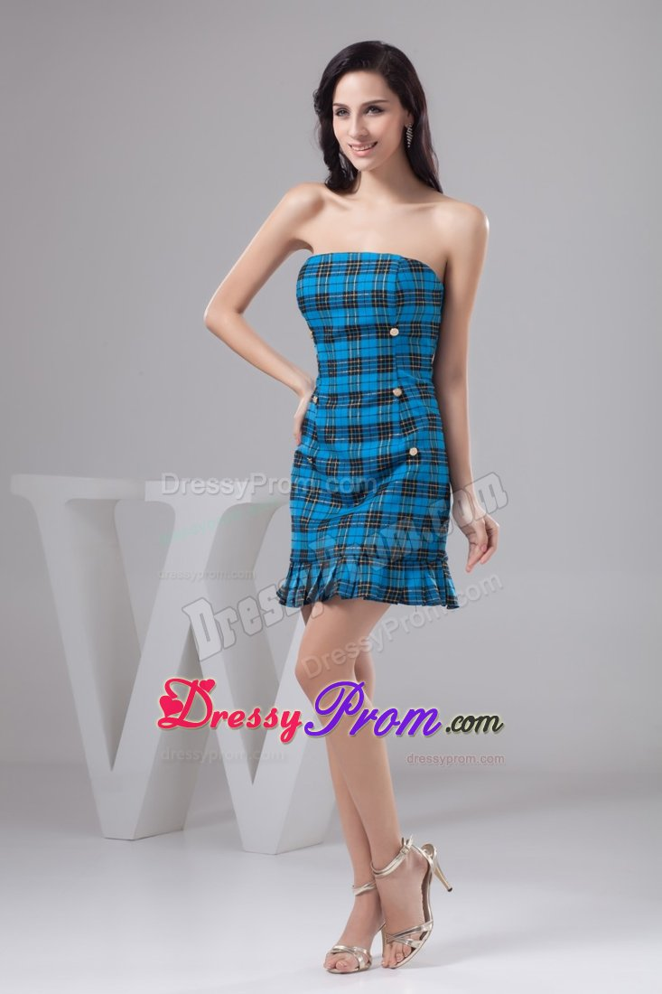 Sheath Mini Blue Prom Dress Made in Fabric with Plaid Pattern