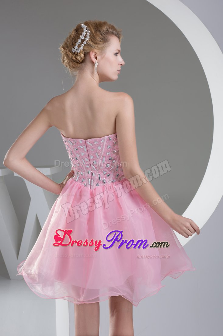 Delaware Pink Short Sweetheart Princess Prom Dress with Beading