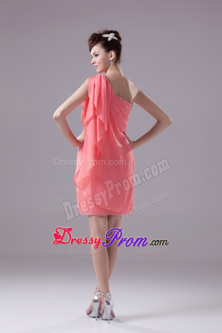 One Shoulder Watermelon Short Beaded Prom Dress in Illinois