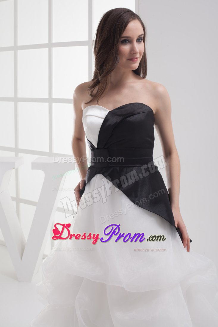 White and Black Sweetheart High-low Prom Dresses with Pick-ups