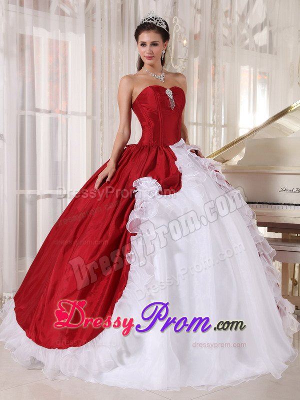 Taffeta and Organza Sweet 15 Dresses Beading in Red and White