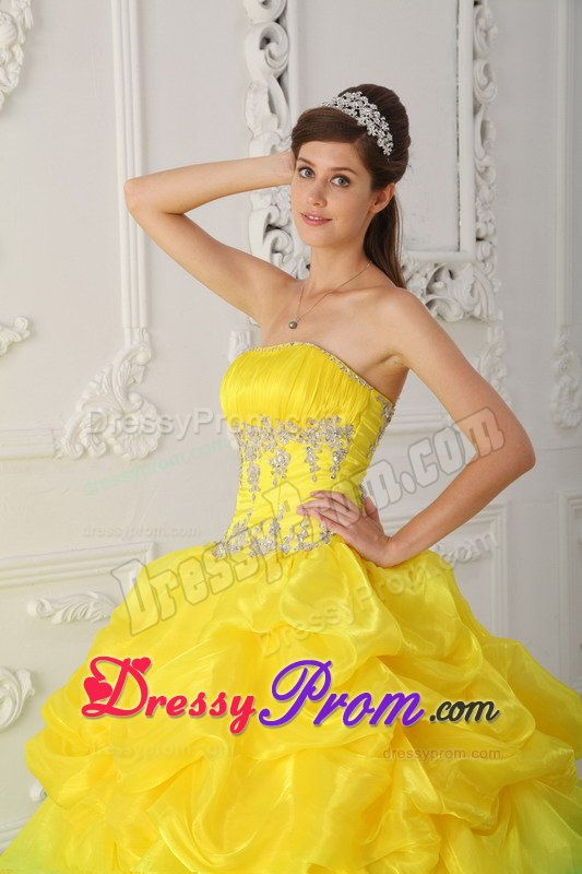 Yellow Strapless Sweet Sixteen Dresses with Pick ups 2014