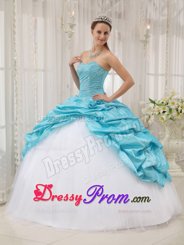 c5376eb3b7 Beading and Pick ups Accent Sweet 15 Dresses in White and Aqua Blue