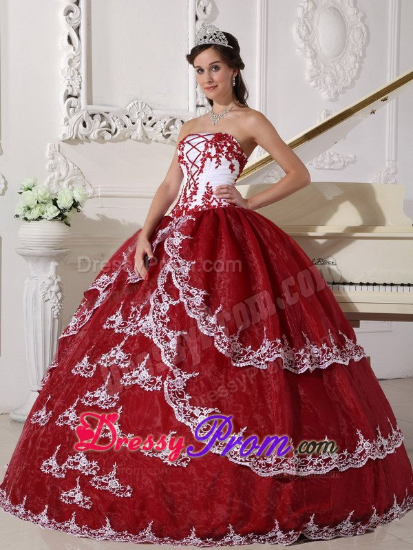 Red and White Organza Sweet 15 Dresses with Appliques 2014