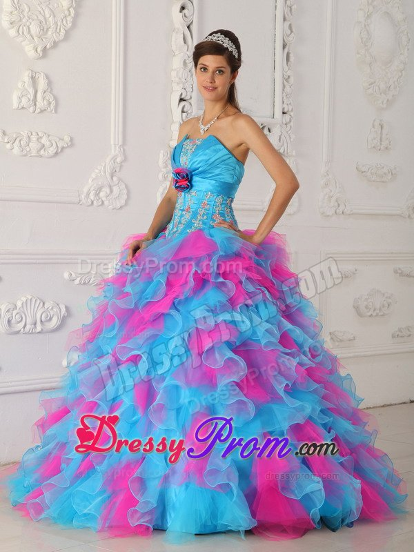 and Ruffled Quinceanera Gown in Aqua Blue and Hot Pink
