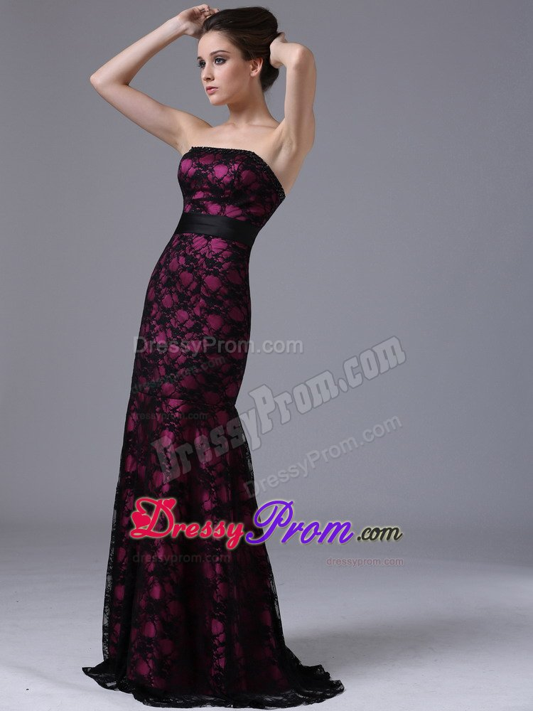 and Black Lace Sash Strapless Prom Homecoming Dresses