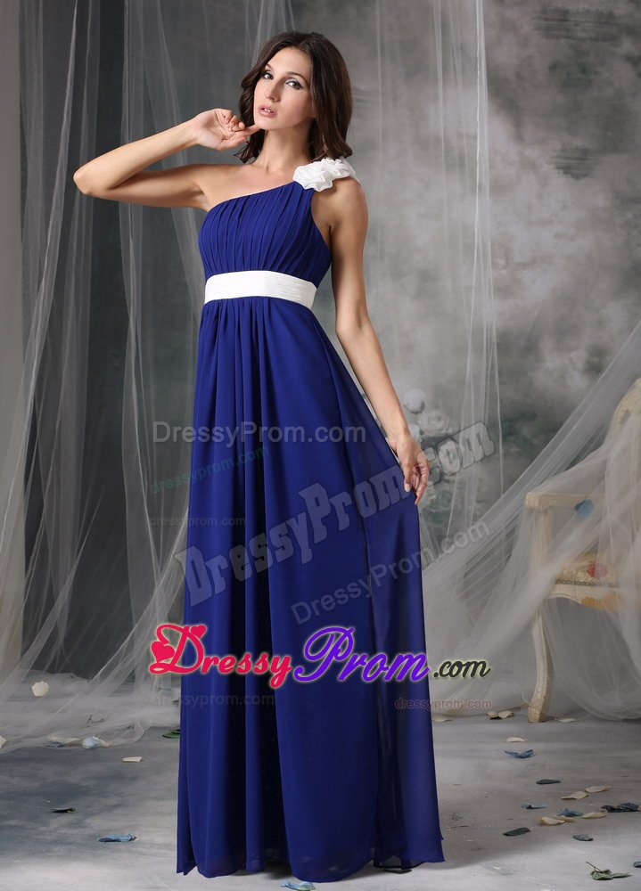White Flowers And Belt Accent One Shoulder Blue Prom Formal Dress