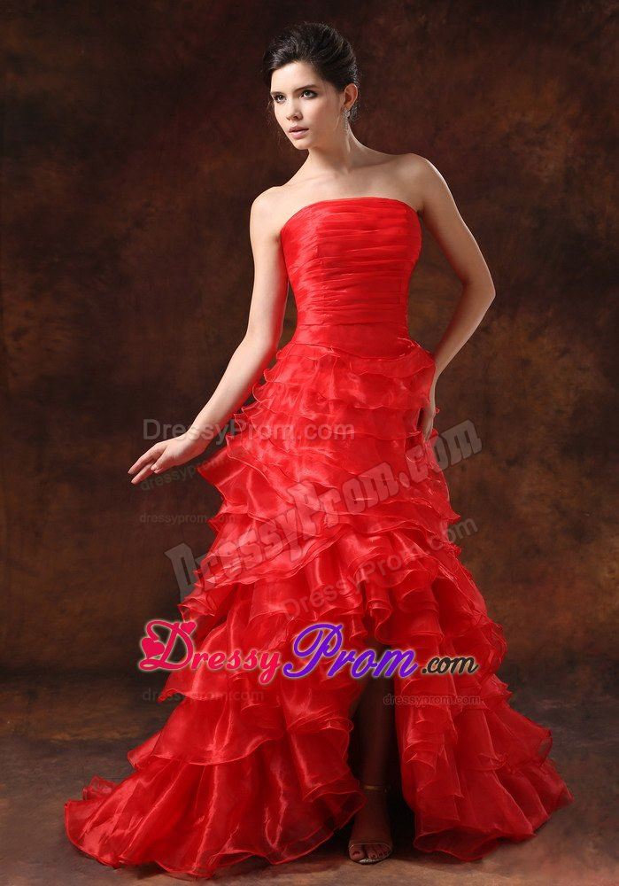 strapless highlow ruffled layers red prom formal dress