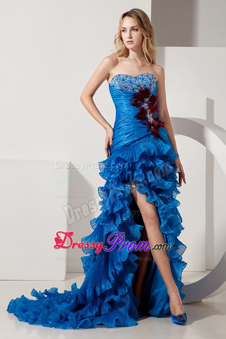 Sweetheart High-low Beaded Feather Dress for Prom