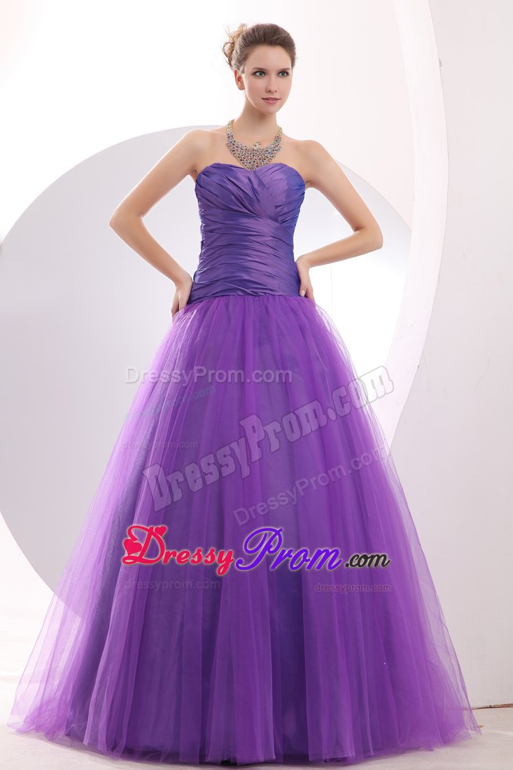 New A-line Sweetheart Ruched Purple Prom Dress in Bristol
