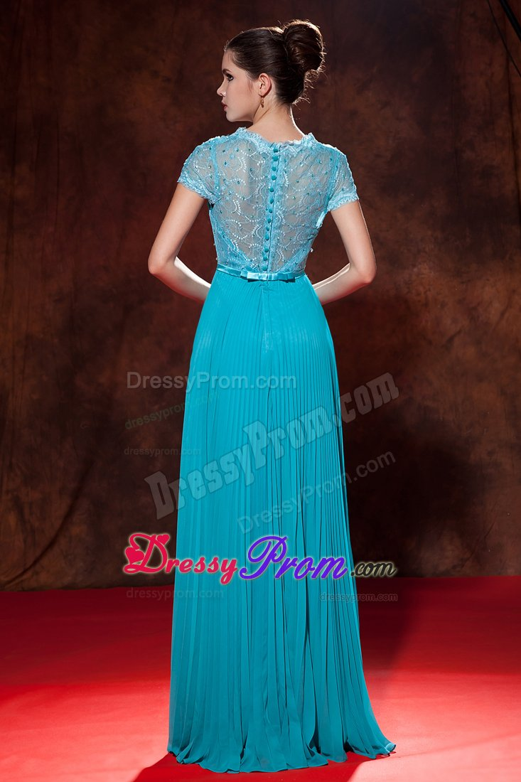 Beautiful Lace Decorated Beading Pleat Prom Formal Dress V-neck