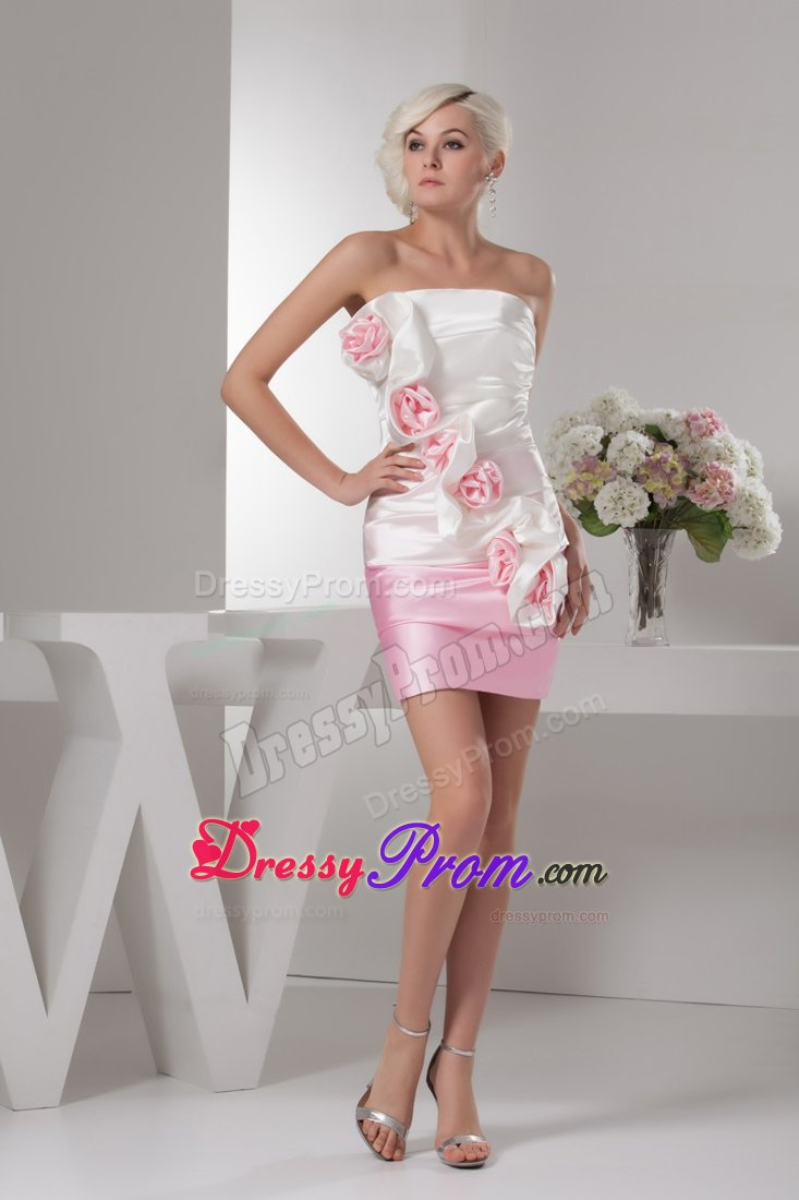 Design White And Baby Pink Flowers Ruched Mini Prom Dress