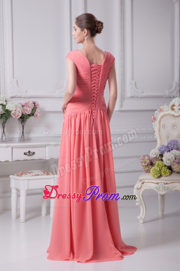 Brand New Lace Up Back Prom Formal Dress V Neck In Watermelon