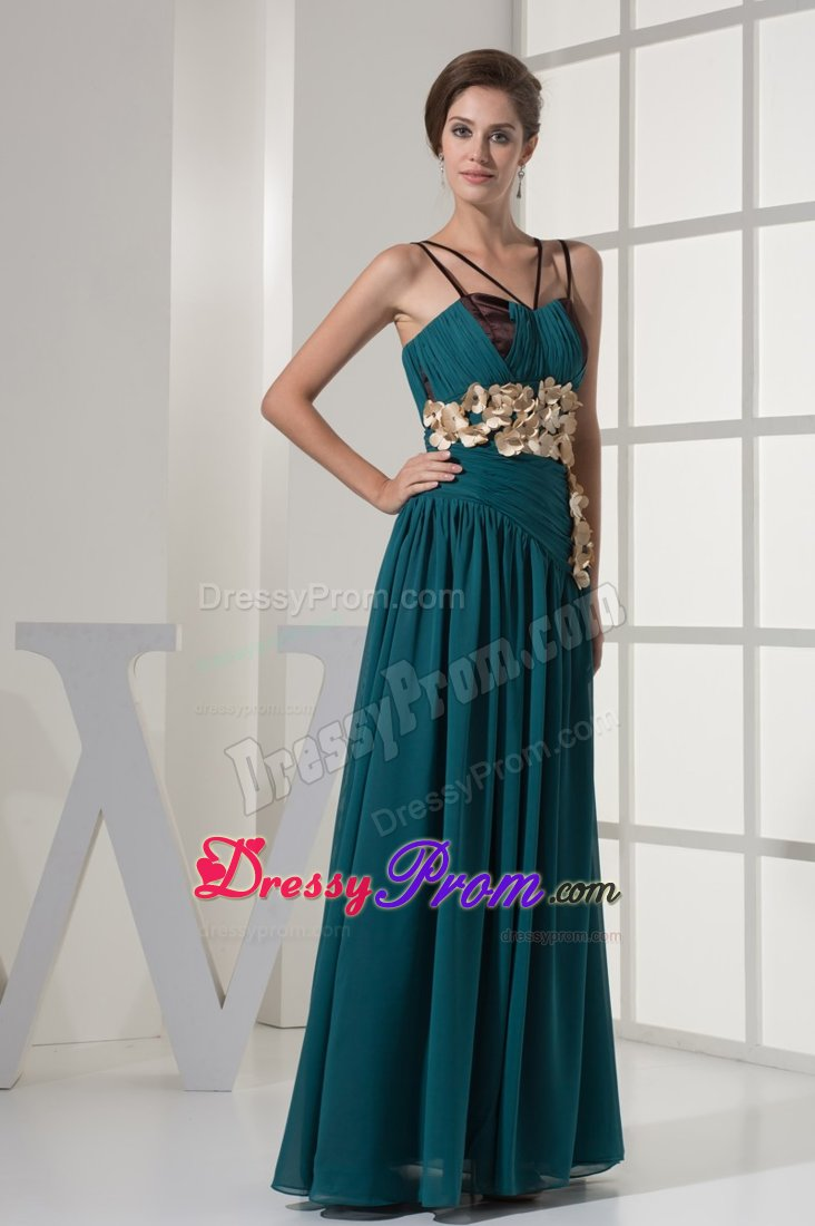 Chiffon Spaghetti Straps Prom Dress for Celebrity Peacock colored