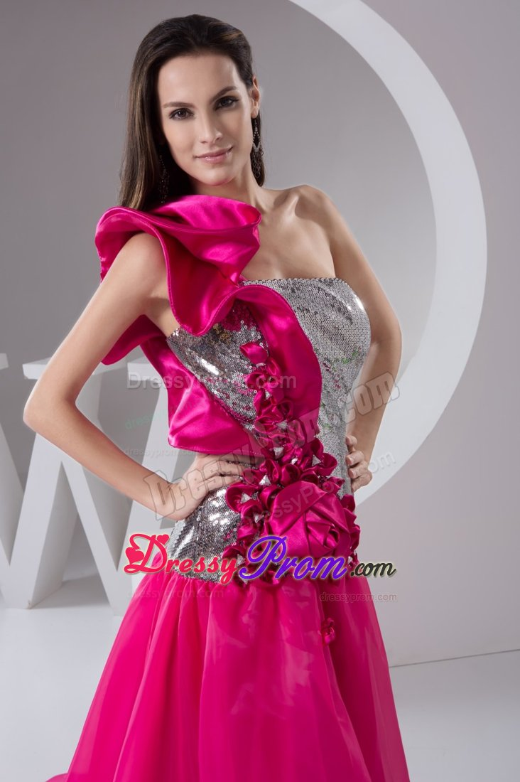 High Low One Shoulder Sequins Hot Pink And Silver Prom Dress