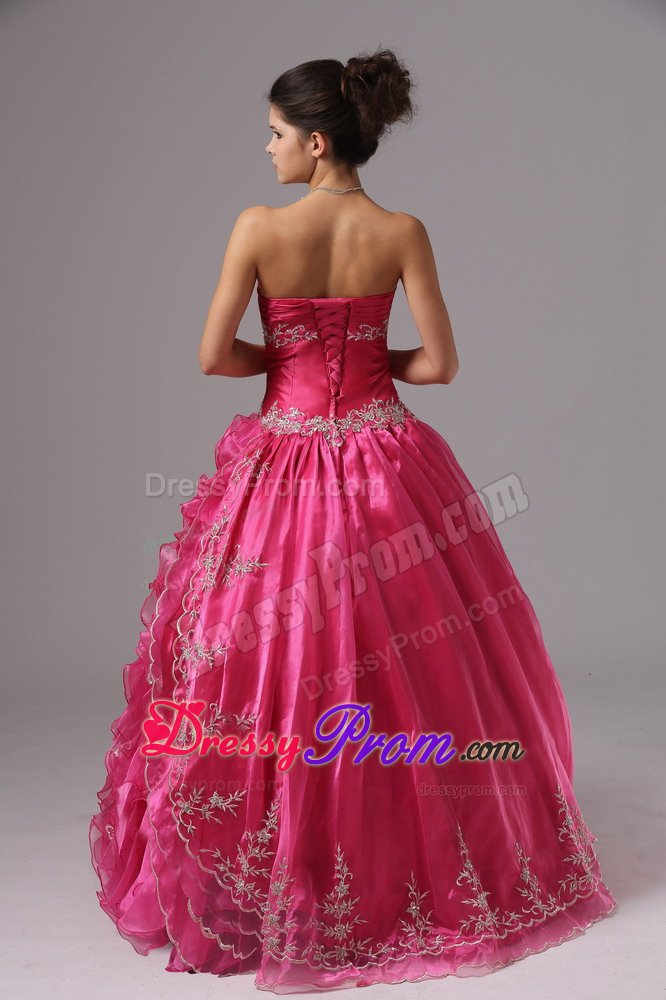Sweetheart Appliqued Ruffled Hot Pink Prom Dress for Ladies
