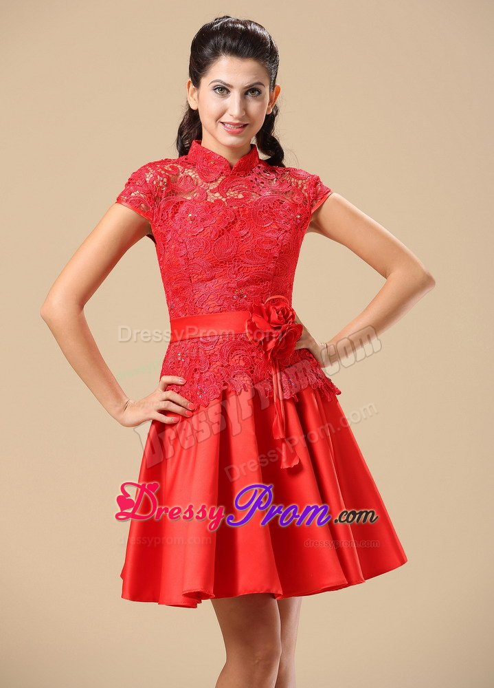 Red Vintage Prom Dresses Red Lace Prom Dress For