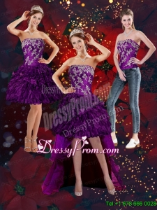 2015 Beautiful Purple Strapless Prom Skirts with Embroidery and Ruffles
