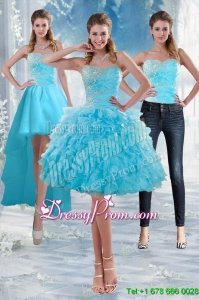 2015 Delicate Sweetheart Baby Blue Prom Skirts with Appliques and Ruffles