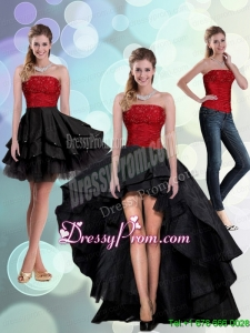2015 Discount Strapless Beading Prom Skirts in Red and Black