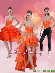 2015 High Low Sweetheart Orange Red Prom Skirts with Ruffles and Beading