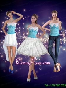 2015 Modest Embroidery Sweetheart Prom Skirts in White and Blue