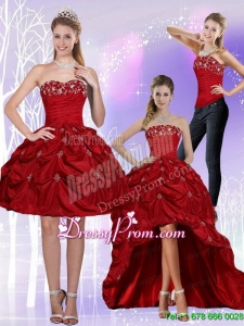 2015 New Style Strapless Wine Red Prom Skirts with Embroidery