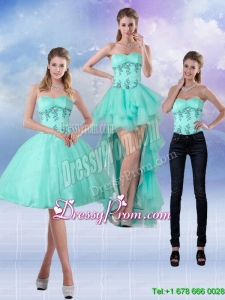 2015 New Style Sweetheart Apple Green Prom Skirts with Appliques