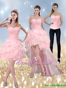 2015 New Style Sweetheart Baby Pink Prom Skirts with Ruffled Layers and Beading