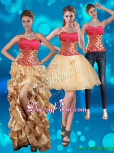 2015 Strapless Multi Color Prom Skirts with Beading and Embroidery