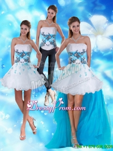 2015 Strapless White and Blue Prom Skirts with Appliques and Beading