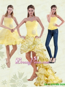 2015 Yellow Sweetheart High Low Prom Skirts with Beading and Ruffled Layers