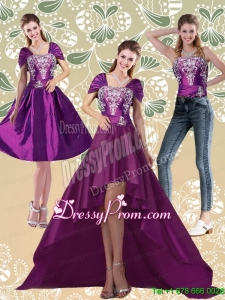 Classical High Low Embroidery Dark Purple Prom Skirts for 2015